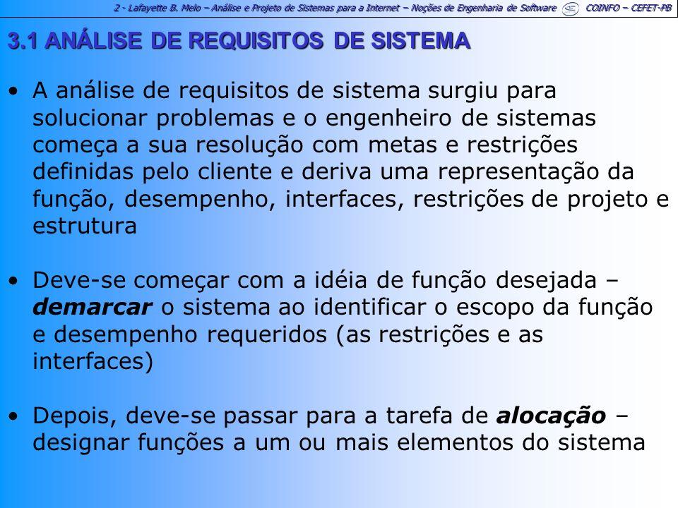 2 - Lafayette B. Melo – Análise e Projeto de Sistemas para a Internet – Noções de Engenharia de Software COINFO – CEFET-PB 3.1 ANÁLISE DE REQUISITOS D