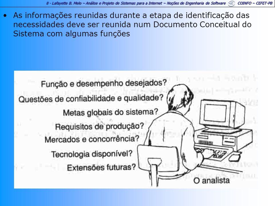 8 - Lafayette B. Melo – Análise e Projeto de Sistemas para a Internet – Noções de Engenharia de Software COINFO – CEFET-PB As informações reunidas dur
