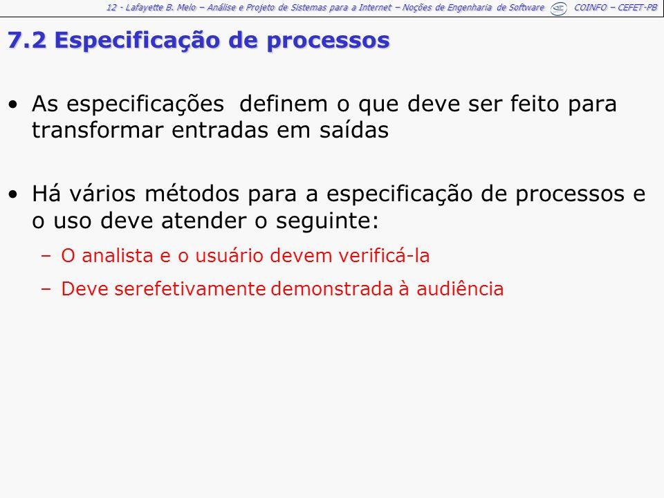 12 - Lafayette B. Melo – Análise e Projeto de Sistemas para a Internet – Noções de Engenharia de Software COINFO – CEFET-PB 7.2 Especificação de proce