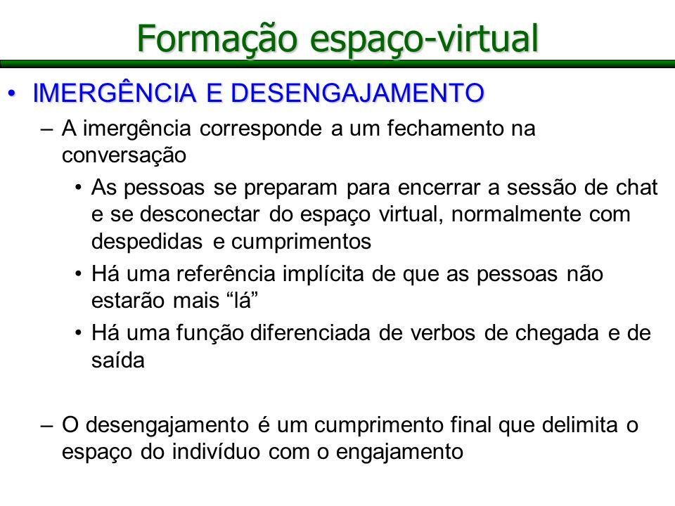 Formação espaço-virtual IMERGÊNCIA E DESENGAJAMENTOIMERGÊNCIA E DESENGAJAMENTO –A imergência corresponde a um fechamento na conversação As pessoas se