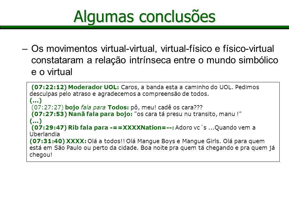 –Os movimentos virtual-virtual, virtual-físico e físico-virtual constataram a relação intrínseca entre o mundo simbólico e o virtual Algumas conclusõe