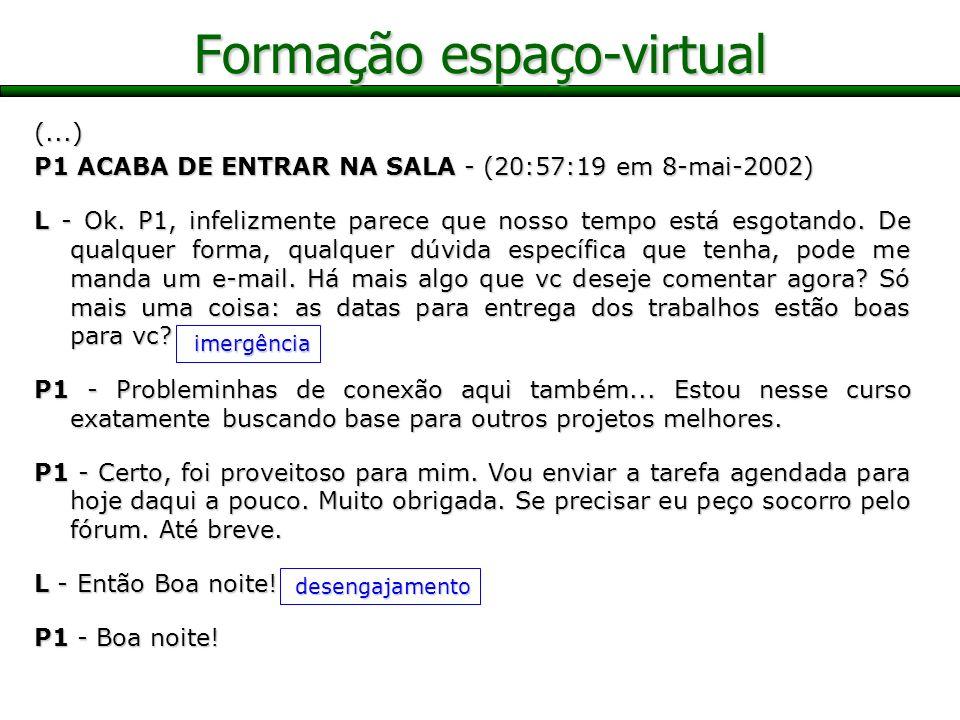Formação espaço-virtual (...) P1 ACABA DE ENTRAR NA SALA - (20:57:19 em 8-mai-2002) L - Ok. P1, infelizmente parece que nosso tempo está esgotando. De