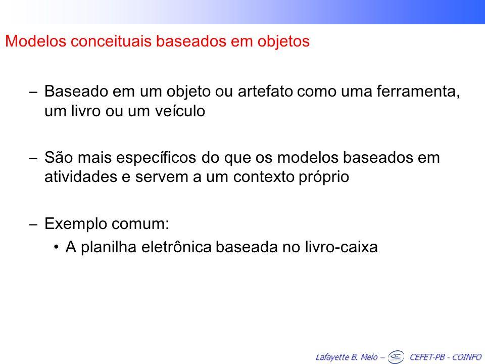 Lafayette B. Melo – CEFET-PB - COINFO Modelos conceituais baseados em objetos –Baseado em um objeto ou artefato como uma ferramenta, um livro ou um ve