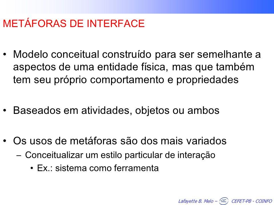 Lafayette B. Melo – CEFET-PB - COINFO METÁFORAS DE INTERFACE Modelo conceitual construído para ser semelhante a aspectos de uma entidade física, mas q