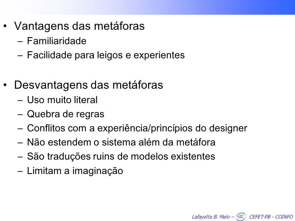 Lafayette B. Melo – CEFET-PB - COINFO Vantagens das metáforas –Familiaridade –Facilidade para leigos e experientes Desvantagens das metáforas –Uso mui