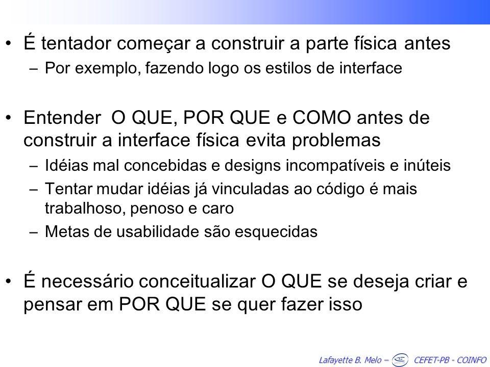 Lafayette B. Melo – CEFET-PB - COINFO É tentador começar a construir a parte física antes –Por exemplo, fazendo logo os estilos de interface Entender
