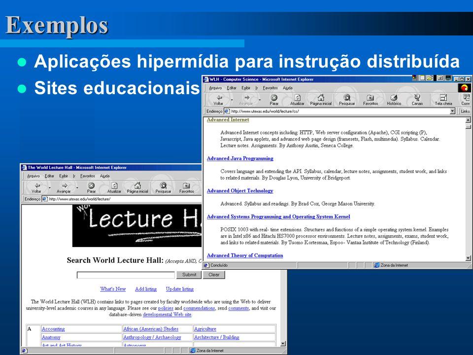 Exemplos Aplicações hipermídia para instrução distribuída Sites educacionais