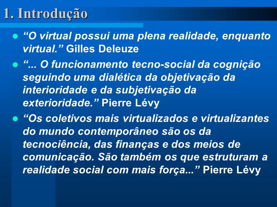 1. Introdução O virtual possui uma plena realidade, enquanto virtual. Gilles Deleuze... O funcionamento tecno-social da cognição seguindo uma dialétic