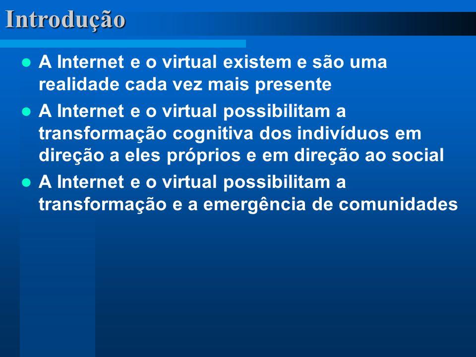 Introdução A Internet e o virtual existem e são uma realidade cada vez mais presente A Internet e o virtual possibilitam a transformação cognitiva dos