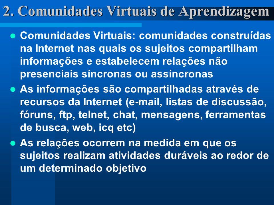 2. Comunidades Virtuais de Aprendizagem Comunidades Virtuais: comunidades construídas na Internet nas quais os sujeitos compartilham informações e est