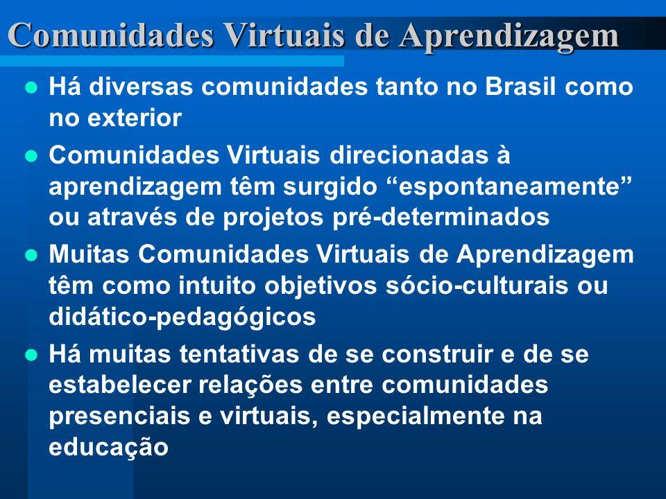 Há diversas comunidades tanto no Brasil como no exterior Comunidades Virtuais direcionadas à aprendizagem têm surgido espontaneamente ou através de pr