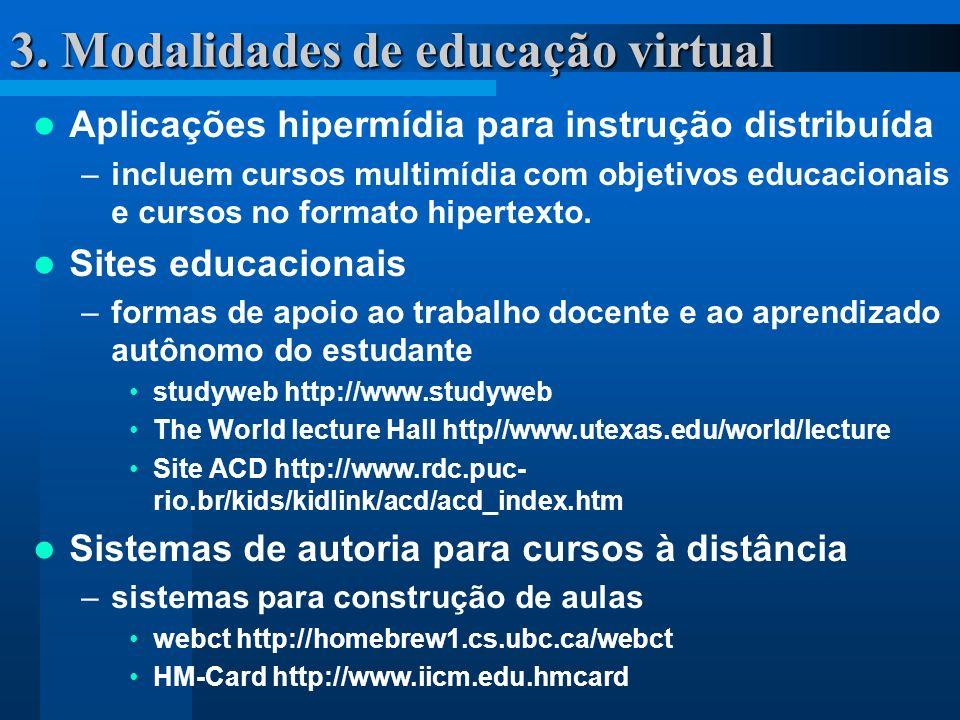 3. Modalidades de educação virtual Aplicações hipermídia para instrução distribuída –incluem cursos multimídia com objetivos educacionais e cursos no