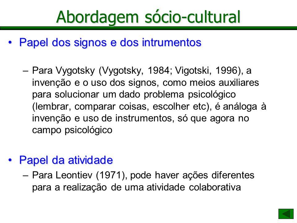 Abordagem sócio-cultural Papel dos signos e dos intrumentosPapel dos signos e dos intrumentos –Para Vygotsky (Vygotsky, 1984; Vigotski, 1996), a inven