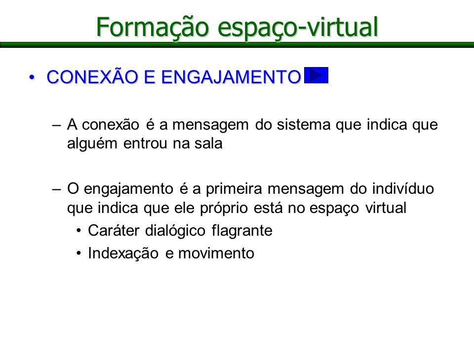 Formação espaço-virtual CONEXÃO E ENGAJAMENTOCONEXÃO E ENGAJAMENTO –A conexão é a mensagem do sistema que indica que alguém entrou na sala –O engajame