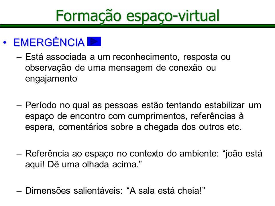 Formação espaço-virtual EMERGÊNCIAEMERGÊNCIA –Está associada a um reconhecimento, resposta ou observação de uma mensagem de conexão ou engajamento –Pe