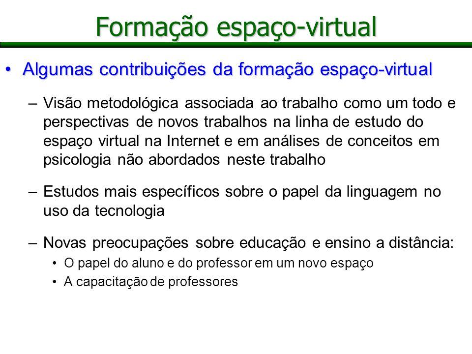 Algumas contribuições da formação espaço-virtualAlgumas contribuições da formação espaço-virtual –Visão metodológica associada ao trabalho como um tod