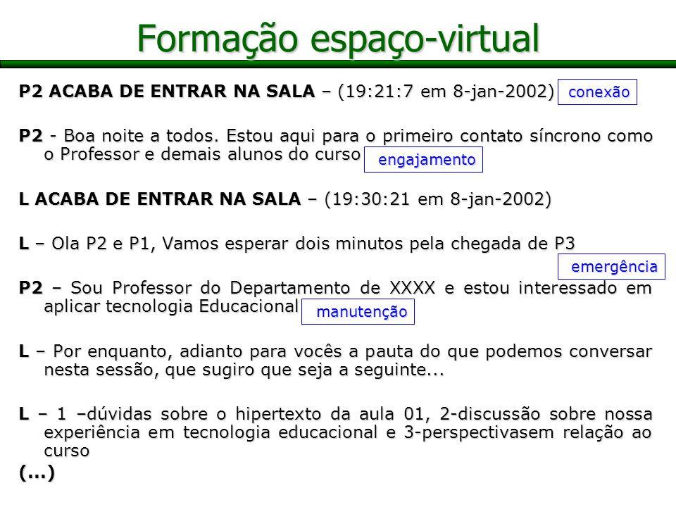 Formação espaço-virtual P2 ACABA DE ENTRAR NA SALA – (19:21:7 em 8-jan-2002) P2 - Boa noite a todos. Estou aqui para o primeiro contato síncrono como