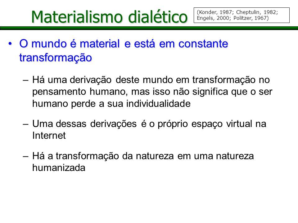 Materialismo dialético O mundo é material e está em constante transformaçãoO mundo é material e está em constante transformação –Há uma derivação dest