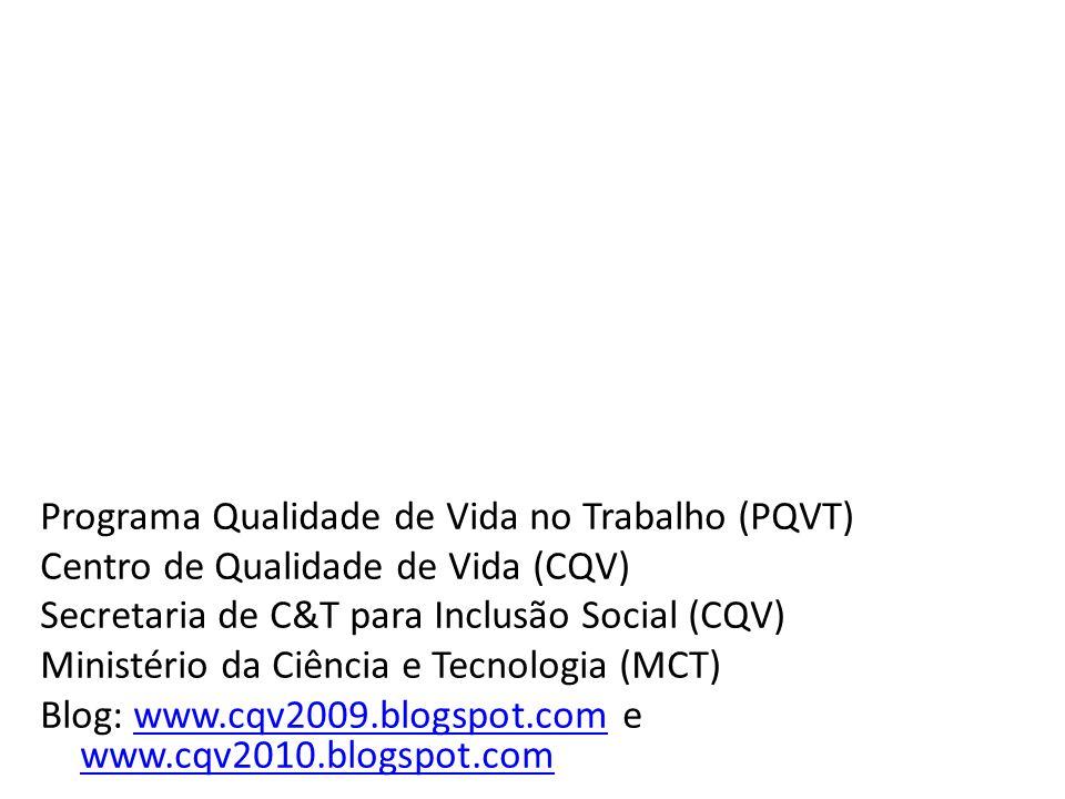 Programa Qualidade de Vida no Trabalho (PQVT) Centro de Qualidade de Vida (CQV) Secretaria de C&T para Inclusão Social (CQV) Ministério da Ciência e T