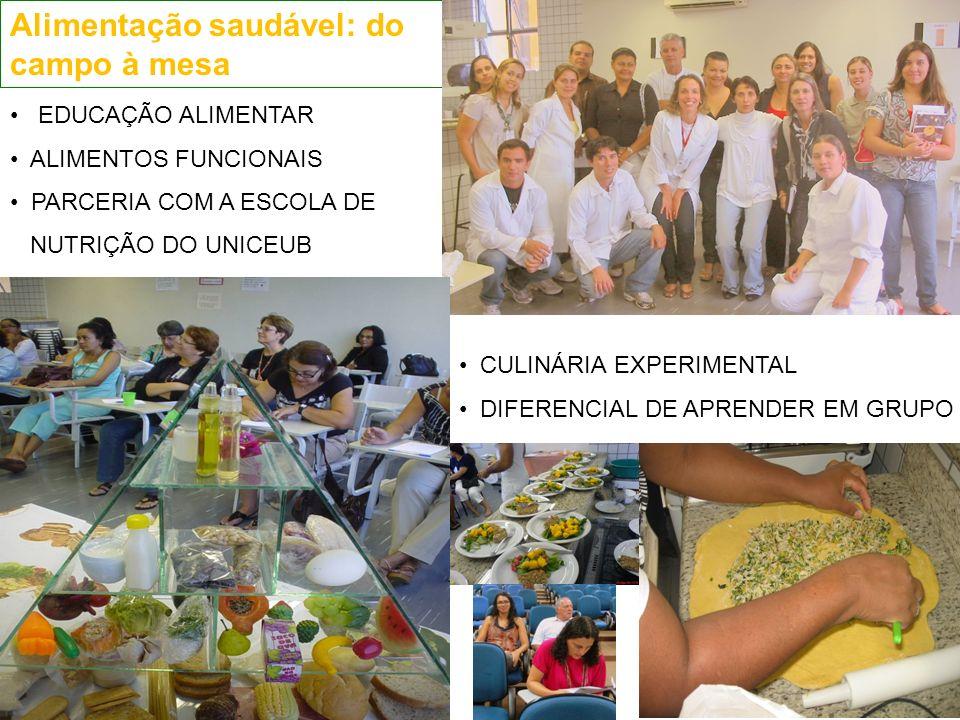 Alimentação saudável: do campo à mesa EDUCAÇÃO ALIMENTAR ALIMENTOS FUNCIONAIS PARCERIA COM A ESCOLA DE NUTRIÇÃO DO UNICEUB CULINÁRIA EXPERIMENTAL DIFE