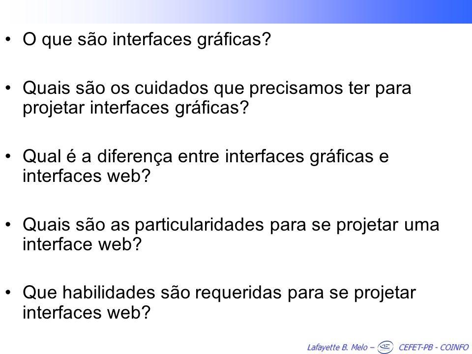 Lafayette B. Melo – CEFET-PB - COINFO O que são interfaces gráficas? Quais são os cuidados que precisamos ter para projetar interfaces gráficas? Qual