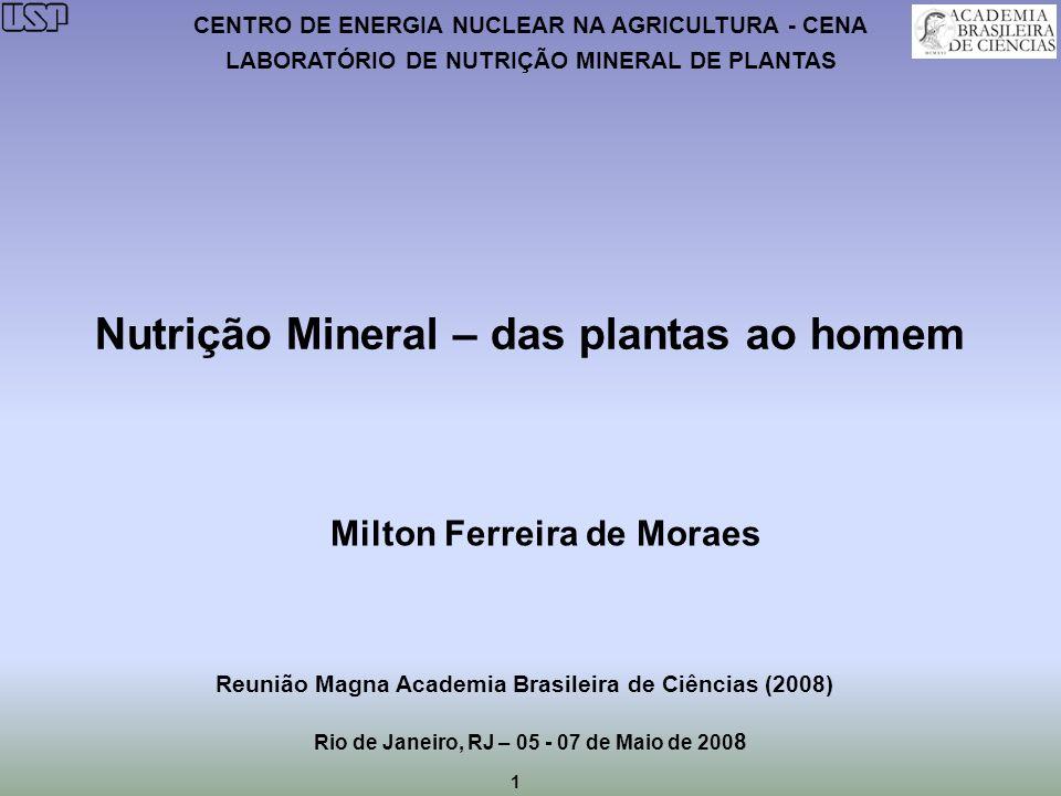 1 CENTRO DE ENERGIA NUCLEAR NA AGRICULTURA - CENA LABORATÓRIO DE NUTRIÇÃO MINERAL DE PLANTAS Nutrição Mineral – das plantas ao homem Milton Ferreira d