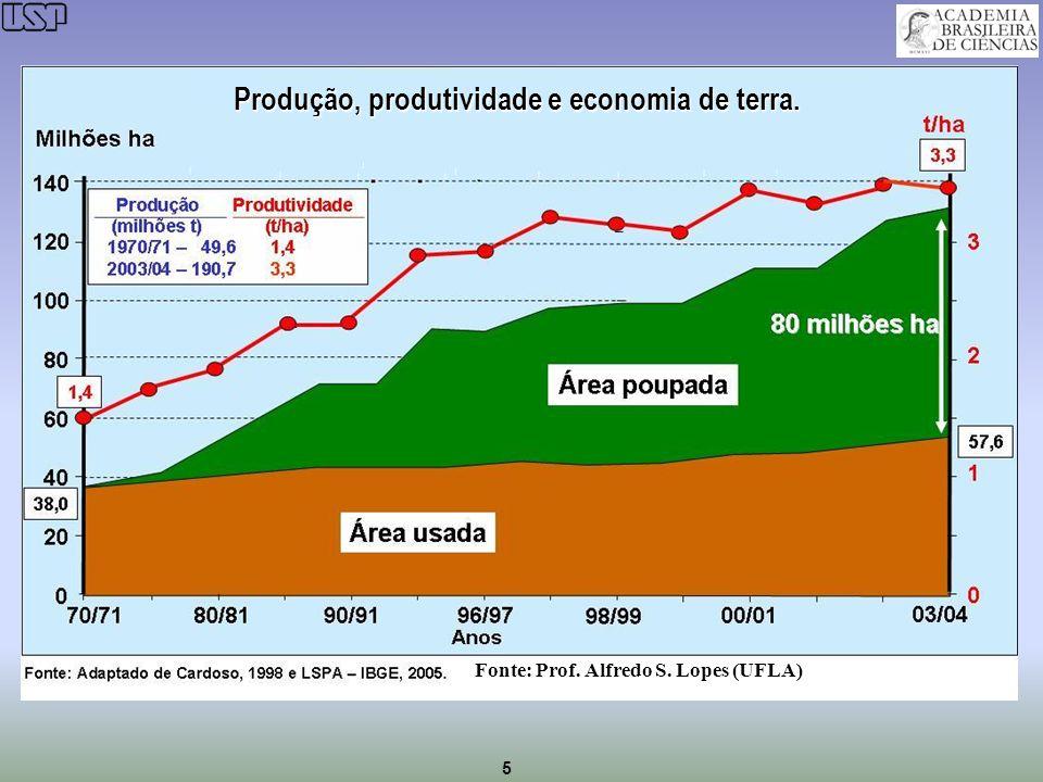 5 Produção, produtividade e economia de terra. Fonte: Prof. Alfredo S. Lopes (UFLA)