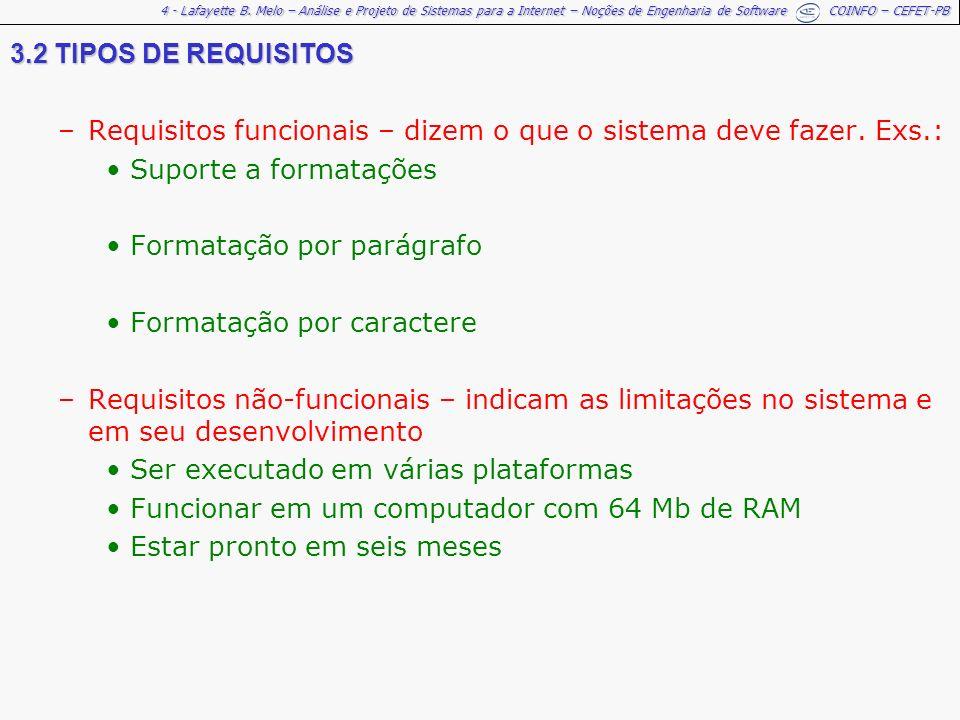 4 - Lafayette B. Melo – Análise e Projeto de Sistemas para a Internet – Noções de Engenharia de Software COINFO – CEFET-PB 3.2 TIPOS DE REQUISITOS –Re