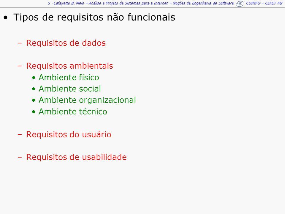 5 - Lafayette B. Melo – Análise e Projeto de Sistemas para a Internet – Noções de Engenharia de Software COINFO – CEFET-PB Tipos de requisitos não fun
