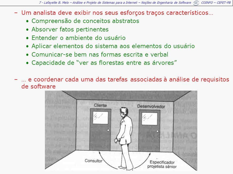 7 - Lafayette B. Melo – Análise e Projeto de Sistemas para a Internet – Noções de Engenharia de Software COINFO – CEFET-PB –Um analista deve exibir no