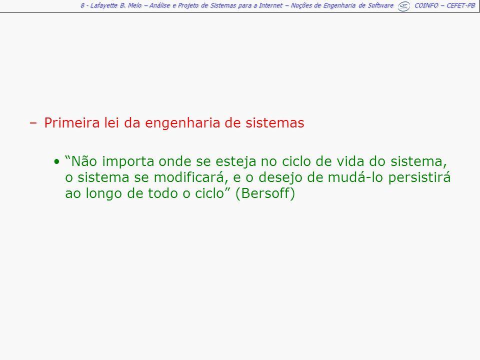 8 - Lafayette B. Melo – Análise e Projeto de Sistemas para a Internet – Noções de Engenharia de Software COINFO – CEFET-PB –Primeira lei da engenharia
