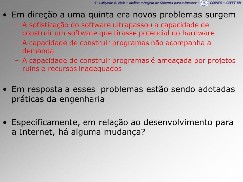 4 - Lafayette B. Melo – Análise e Projeto de Sistemas para a Internet – COINFO – CEFET-PB Em direção a uma quinta era novos problemas surgem –A sofist