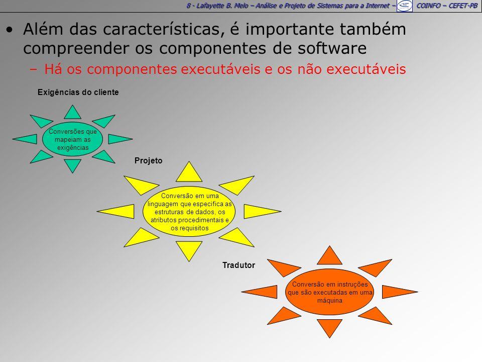 8 - Lafayette B. Melo – Análise e Projeto de Sistemas para a Internet – COINFO – CEFET-PB Além das características, é importante também compreender os