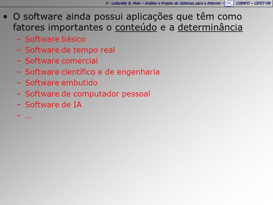 9 - Lafayette B. Melo – Análise e Projeto de Sistemas para a Internet – COINFO – CEFET-PB O software ainda possui aplicações que têm como fatores impo