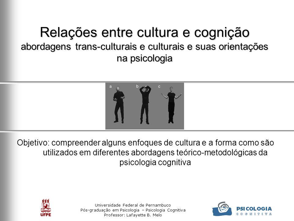 Universidade Federal de Pernambuco Pós-graduação em Psicologia – Psicologia Cognitiva Professor: Lafayette B. Melo Relações entre cultura e cognição a
