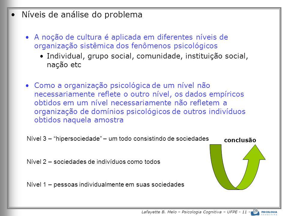 Lafayette B. Melo – Psicologia Cognitiva – UFPE - 11 - Níveis de análise do problema A noção de cultura é aplicada em diferentes níveis de organização