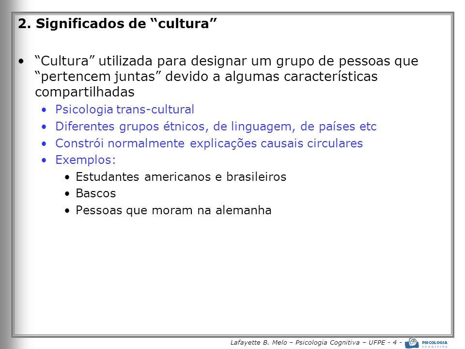 Lafayette B. Melo – Psicologia Cognitiva – UFPE - 4 - 2. Significados de cultura Cultura utilizada para designar um grupo de pessoas que pertencem jun