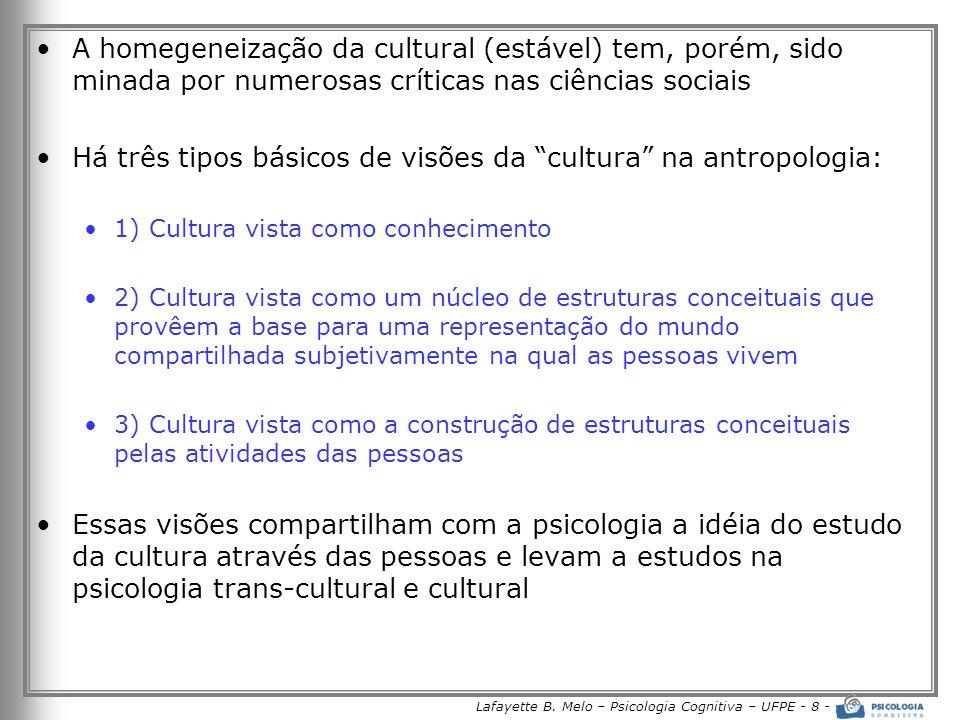 Lafayette B. Melo – Psicologia Cognitiva – UFPE - 8 - A homegeneização da cultural (estável) tem, porém, sido minada por numerosas críticas nas ciênci