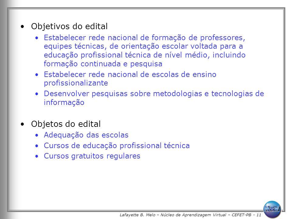 Lafayette B. Melo – Núcleo de Aprendizagem Virtual – CEFET-PB - 11 Objetivos do edital Estabelecer rede nacional de formação de professores, equipes t