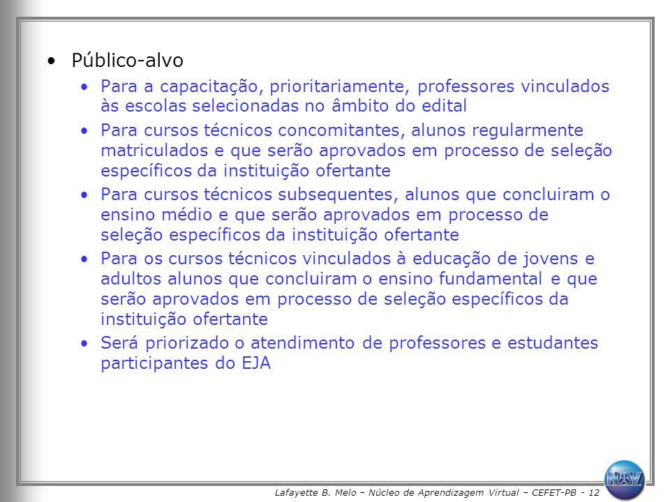 Lafayette B. Melo – Núcleo de Aprendizagem Virtual – CEFET-PB - 12 Público-alvo Para a capacitação, prioritariamente, professores vinculados às escola