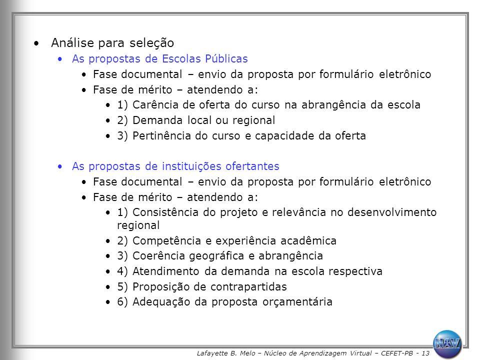 Lafayette B. Melo – Núcleo de Aprendizagem Virtual – CEFET-PB - 13 Análise para seleção As propostas de Escolas Públicas Fase documental – envio da pr