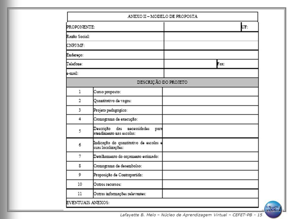Lafayette B. Melo – Núcleo de Aprendizagem Virtual – CEFET-PB - 15