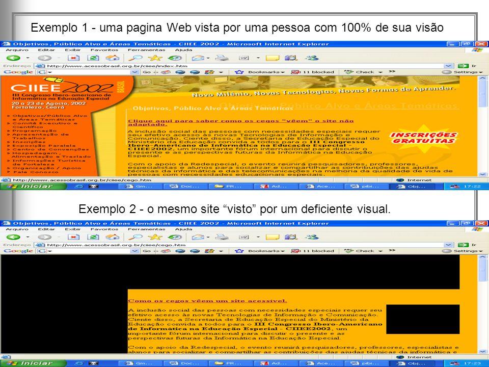 Lafayette B. Melo – Núcleo de Aprendizagem Virtual – CEFET-PB - 7 Exemplo 1 - uma pagina Web vista por uma pessoa com 100% de sua visão Exemplo 2 - o