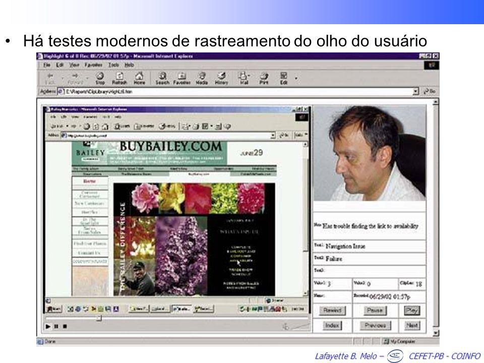 Lafayette B. Melo – CEFET-PB - COINFO Há testes modernos de rastreamento do olho do usuário