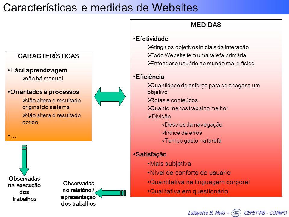 Lafayette B. Melo – CEFET-PB - COINFO Características e medidas de WebsitesCARACTERÍSTICAS Fácil aprendizagem não há manual Orientados a processos Não