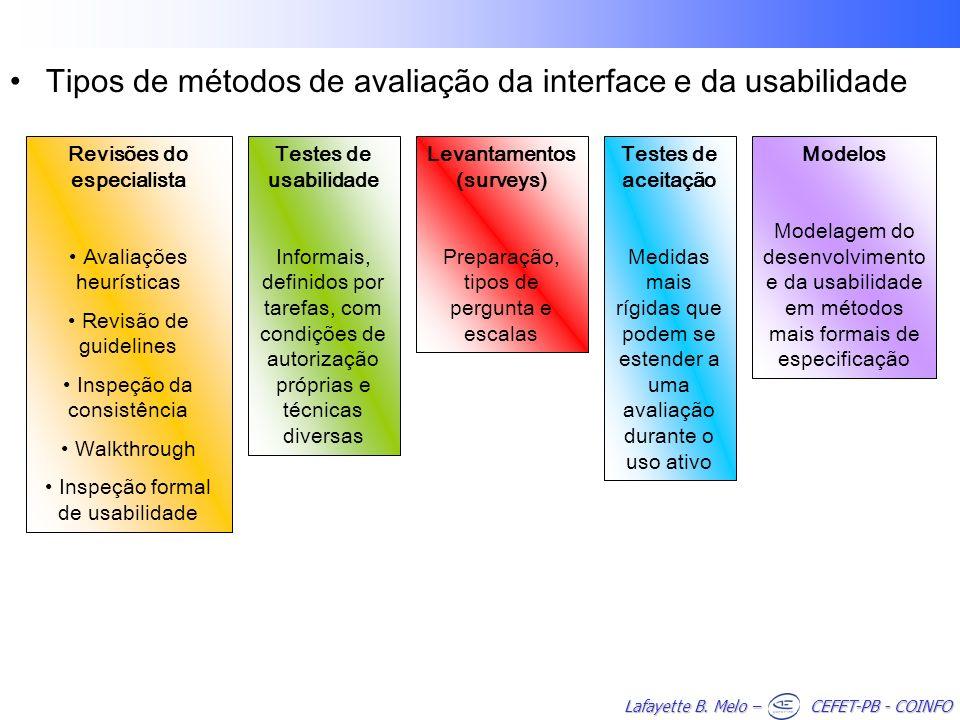 Lafayette B. Melo – CEFET-PB - COINFO Tipos de métodos de avaliação da interface e da usabilidade Revisões do especialista Avaliações heurísticas Revi