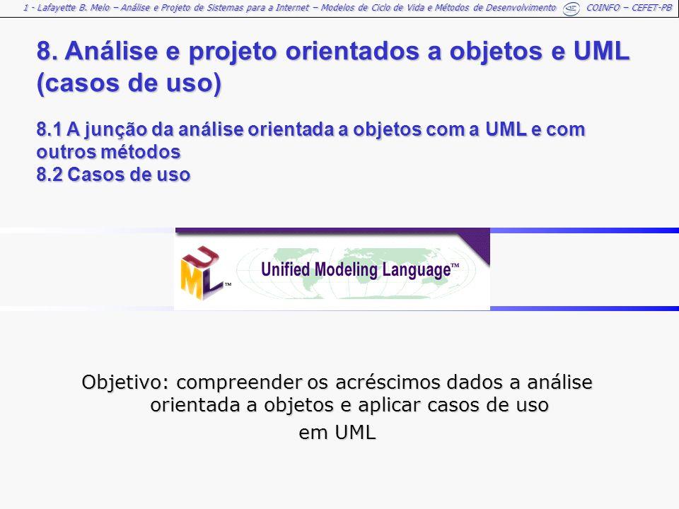 1 - Lafayette B. Melo – Análise e Projeto de Sistemas para a Internet – Modelos de Ciclo de Vida e Métodos de Desenvolvimento COINFO – CEFET-PB 8. Aná