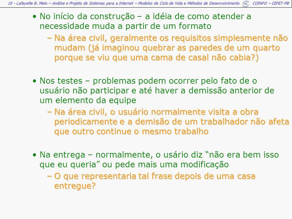 10 - Lafayette B. Melo – Análise e Projeto de Sistemas para a Internet – Modelos de Ciclo de Vida e Métodos de Desenvolvimento COINFO – CEFET-PB No in