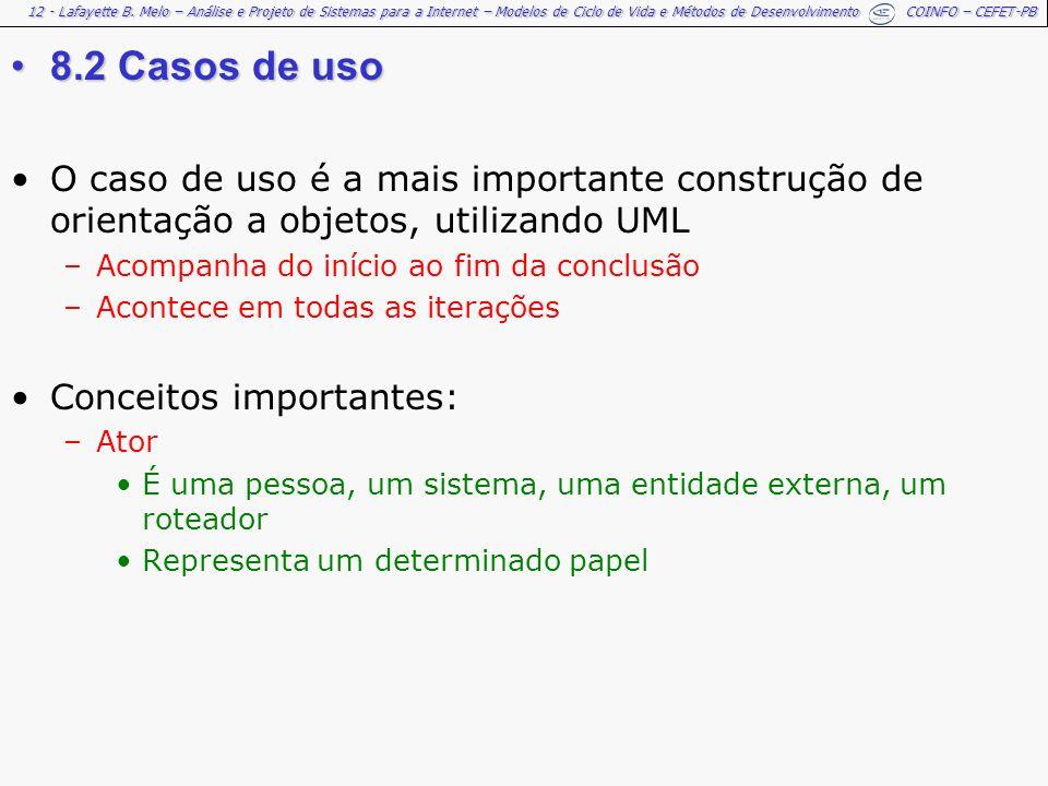 12 - Lafayette B. Melo – Análise e Projeto de Sistemas para a Internet – Modelos de Ciclo de Vida e Métodos de Desenvolvimento COINFO – CEFET-PB 8.2 C