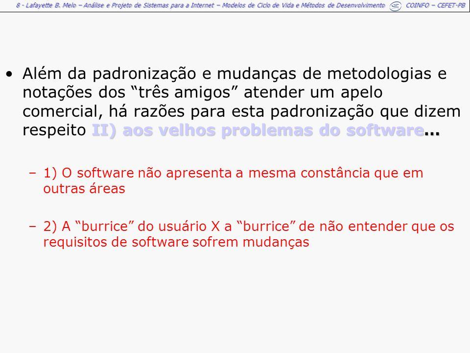 8 - Lafayette B. Melo – Análise e Projeto de Sistemas para a Internet – Modelos de Ciclo de Vida e Métodos de Desenvolvimento COINFO – CEFET-PB II) ao